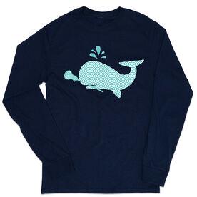 Girls Lacrosse Tshirt Long Sleeve - Chevron Lax Whale