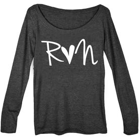 Women's Runner Scoop Neck Long Sleeve Tee - Run Heart