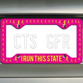 I Run This State (Female) License Plate Holder