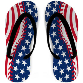 Softball Flip Flops Stitched American Flag