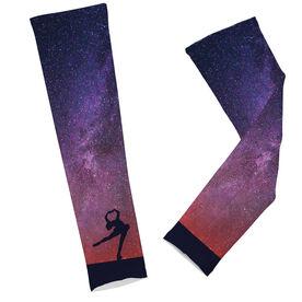 Figure Skating Printed Arm Sleeves Starry Sky Figure Skater