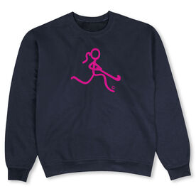 Field Hockey Crew Neck Sweatshirt - Neon Pink Field Hockey Girl