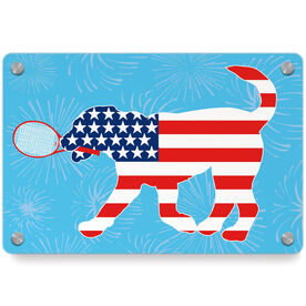 Tennis Metal Wall Art Panel - Patriotic Dennis The Tennis Dog