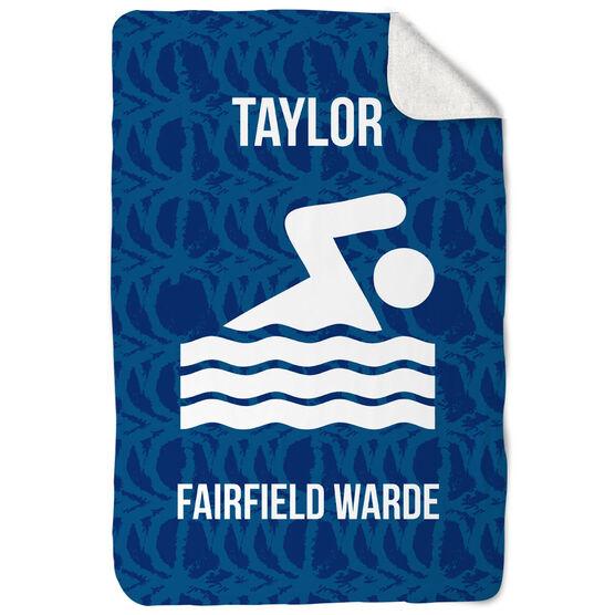 Swimming Sherpa Fleece Blanket - Personalized Team