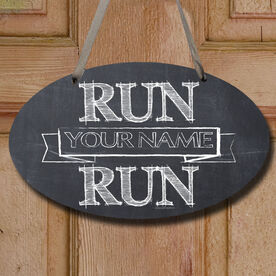 Vintage Run Your Name Run Decorative Oval Sign