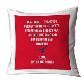 Gymnastics Throw Pillow - Dear Mom Heart (Girl Gymnast)