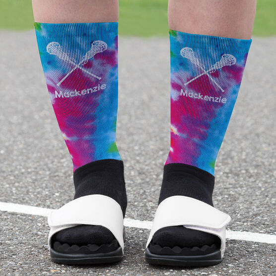 Girls Lacrosse Printed Mid-Calf Socks - Personalized Tie Dye Pattern with Lacrosse Sticks