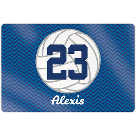 """Volleyball 18"""" X 12"""" Aluminum Room Sign - Personalized Volleyball With Chevron"""