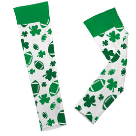 Football Printed Arm Sleeves Shamrock All Over Pattern With Footballs