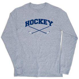 Hockey Tshirt Long Sleeve - Hockey Crossed Sticks Logo