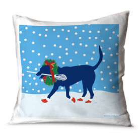 Guys Lacrosse Throw Pillow Christmas Max the Lax Dog