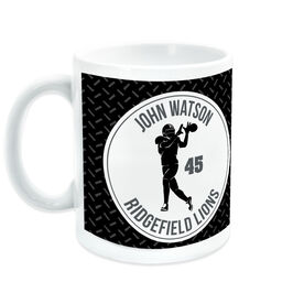 Football Coffee Mug Personalized Team with Wide Receiver Silhouette
