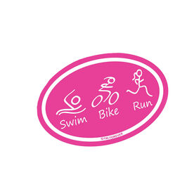 Swim Bike Run (Pink Figures) Mini Car Magnet - Fun Size