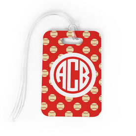 Baseball Bag/Luggage Tag - Personalized Baseball Pattern Monogram