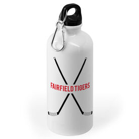 Hockey 20 oz. Stainless Steel Water Bottle - Text With Crossed Sticks