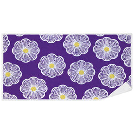 Girls Lacrosse Premium Beach Towel - Lacrosse Stick Flowers