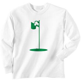 Golf TShirt Long Sleeve Shamrock Pin Flag