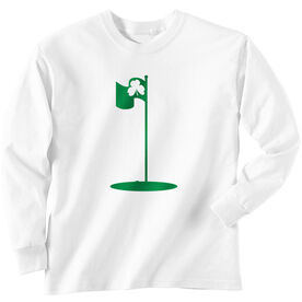 Golf TShirt Long Sleeve Shamrock Pin Flag