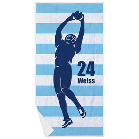 Football Premium Beach Towel - Stripes with Player Silhouette