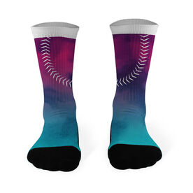 Softball Printed Mid Calf Socks Watercolor Stitches