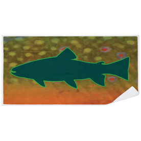 Fly Fishing Premium Beach Towel - Brook Trout with Silhouette