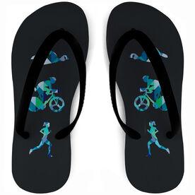 Triathlon Flip Flops Geometric Swim Bike Run Female Silhouettes
