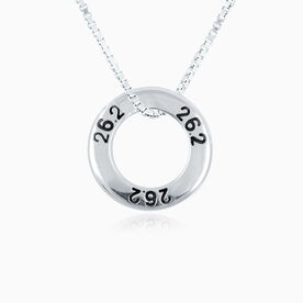Sterling Silver 26.2 Marathon Message Ring Necklace