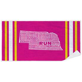Running Premium Beach Towel - Nebraska State Runner