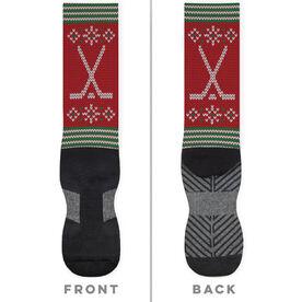 Hockey Printed Mid-Calf Socks - Christmas Knit