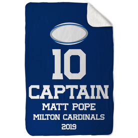 Rugby Sherpa Fleece Blanket - Personalized Captain