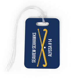 Field Hockey Bag/Luggage Tag - Personalized Text with Crossed Sticks