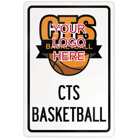 "Basketball Aluminum Room Sign Basketball Custom Logo (18"" X 12"")"