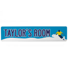 "Skiing Aluminum Room Sign - Personalized Room (4""x18"")"