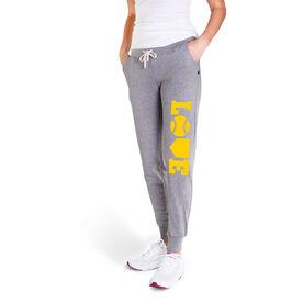 Softball Women's Joggers - Softball Love (Yellow)