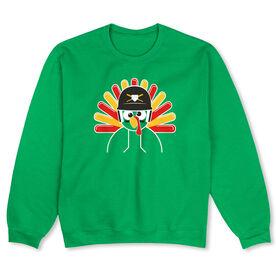 Baseball/Softball Crew Neck Sweatshirt - Goofy Turkey Player
