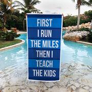 Running Premium Beach Towel - Then I Teach The Kids