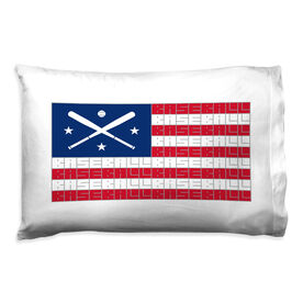 Baseball Pillowcase - American Flag Words