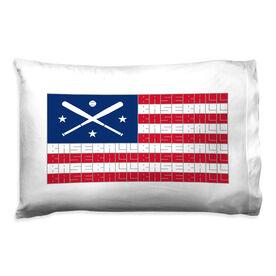 Baseball Pillowcase - American Flag Words