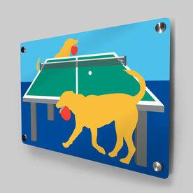 Ping Pong Metal Wall Art Panel - Pongo The Ping Pong Dog