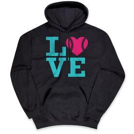 Softball Standard Sweatshirt - LOVE Softball Pink Teal