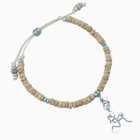 Natural SportBEAD Adjustable Bracelet - Silver Basketball Girl (Stick Figure) Charm