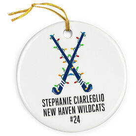Field Hockey Porcelain Ornament Custom Crossed Field Hockey Sticks