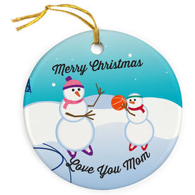 Basketball Porcelain Ornament Snowmen Challenge Mom