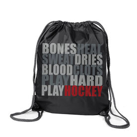 Hockey Sport Pack Cinch Sack Bones Saying
