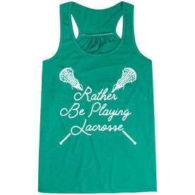 Girls Lacrosse Flowy Racerback Tank Top - Rather Be Playing Lacrosse