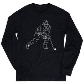 Hockey Tshirt Long Sleeve - Hockey Player Sketch