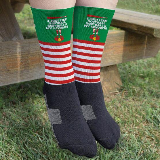 Softball Printed Mid-Calf Socks - Softball's My Favorite