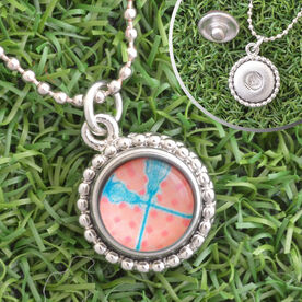 Lacrosse Crossed Sticks Peach Chevron SportSNAPS Necklace