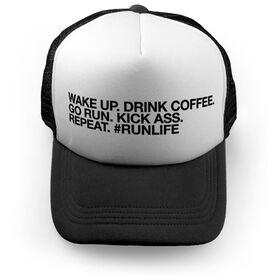 Running Trucker Hat - Wake Up Drink Coffee Go Run #runlife