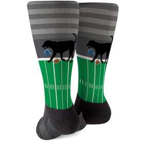Football Printed Mid-Calf Socks - Flash The Football Dog